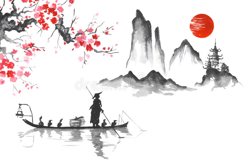 Homem de pintura japonês tradicional da arte de Japão Sumi-e com barco ilustração do vetor
