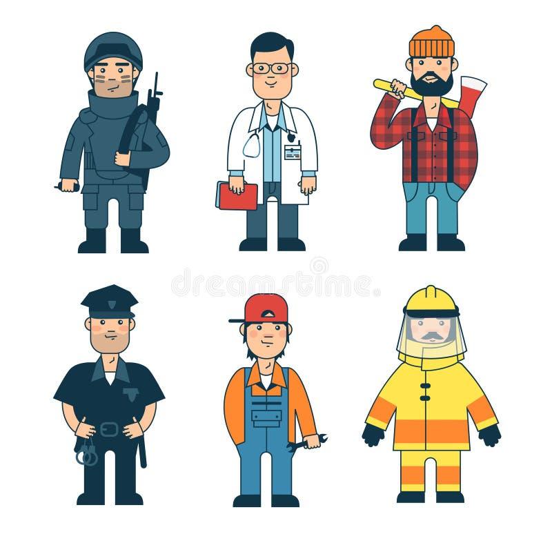 Homem de profissões diferentes jogo ilustração do vetor