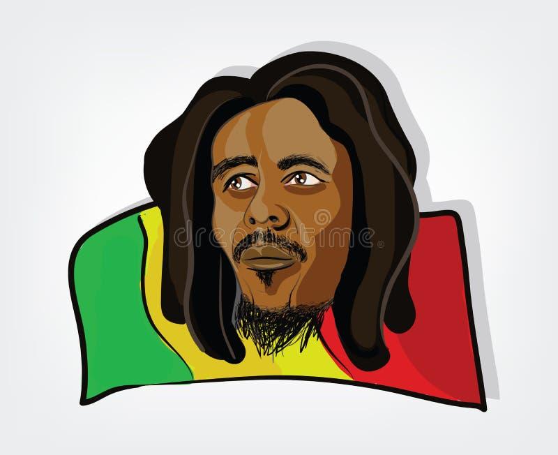 Homem de Rasta. Ilustração de um homem rastafarian em uma bandeira jamaicana ilustração royalty free