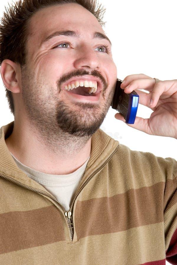 Homem de riso do telefone fotos de stock