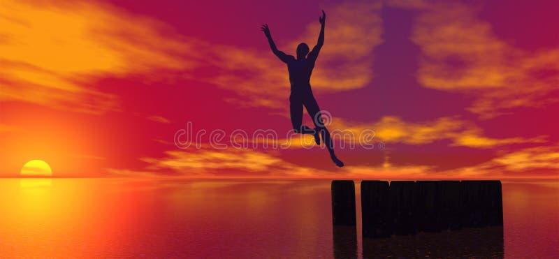 Homem de salto ilustração royalty free