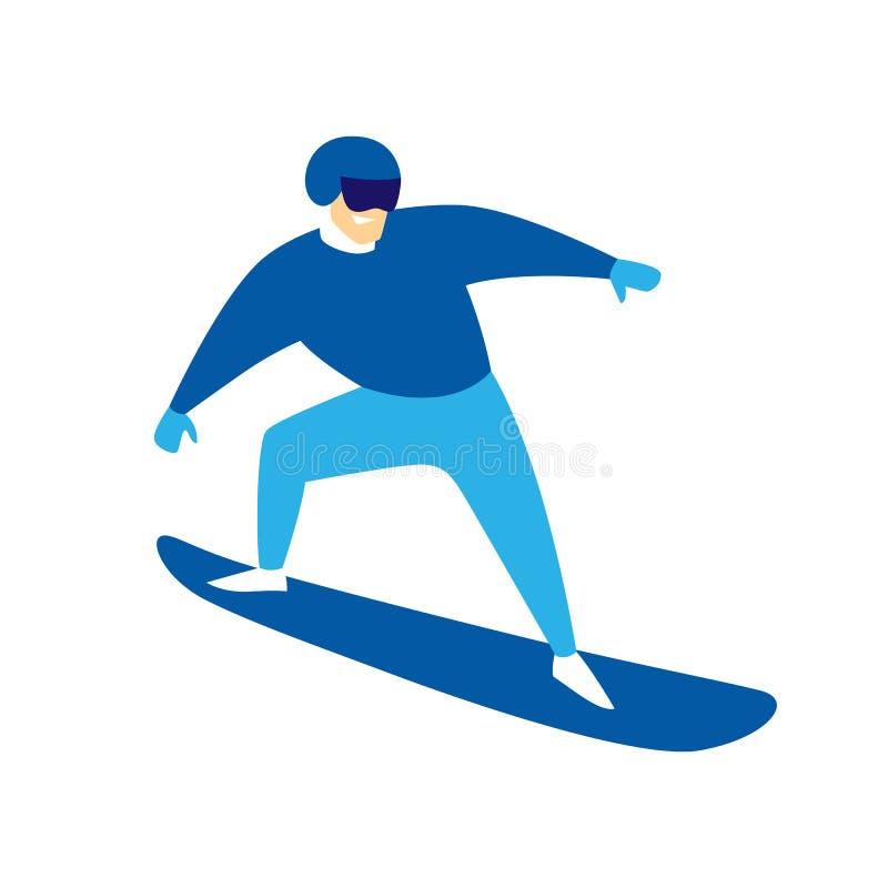 Homem de salto do Snowboarder ilustração stock
