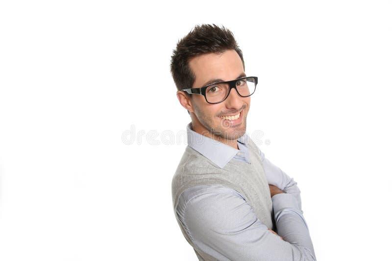 Homem de sorriso com monóculos fotos de stock royalty free