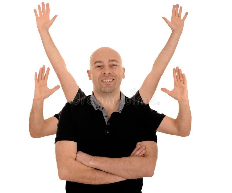 Homem de sorriso com seis braços imagens de stock royalty free