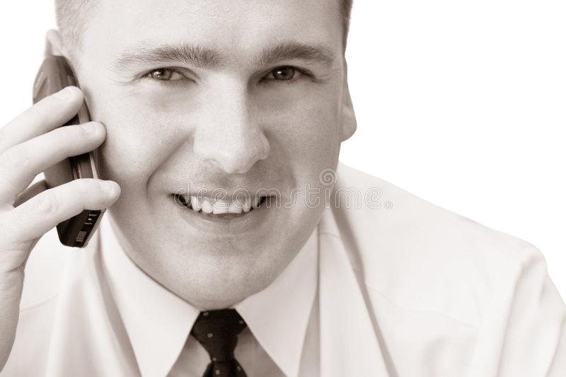 Homem De Sorriso Com Telemóvel Foto de Stock Royalty Free
