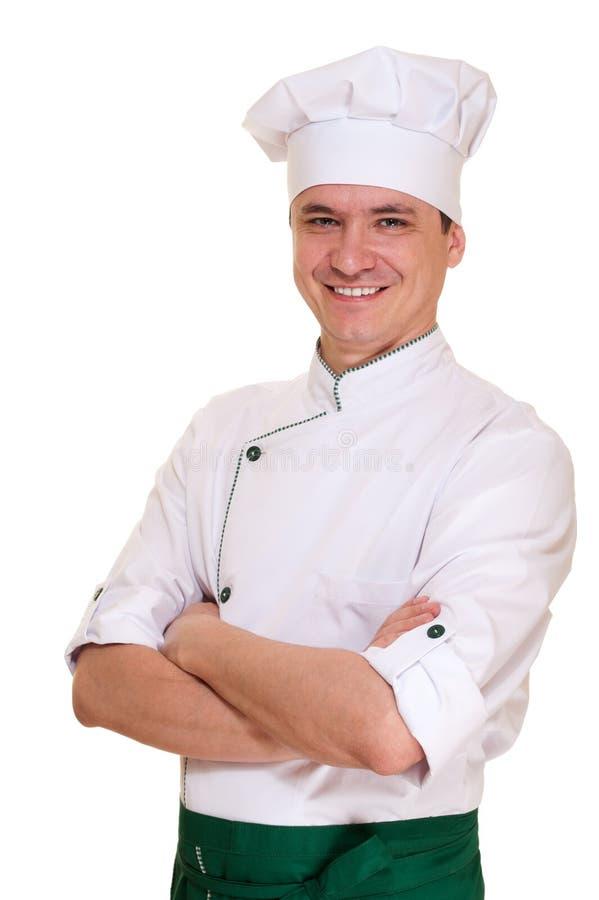 Homem de sorriso do cozinheiro chefe no uniforme imagens de stock royalty free