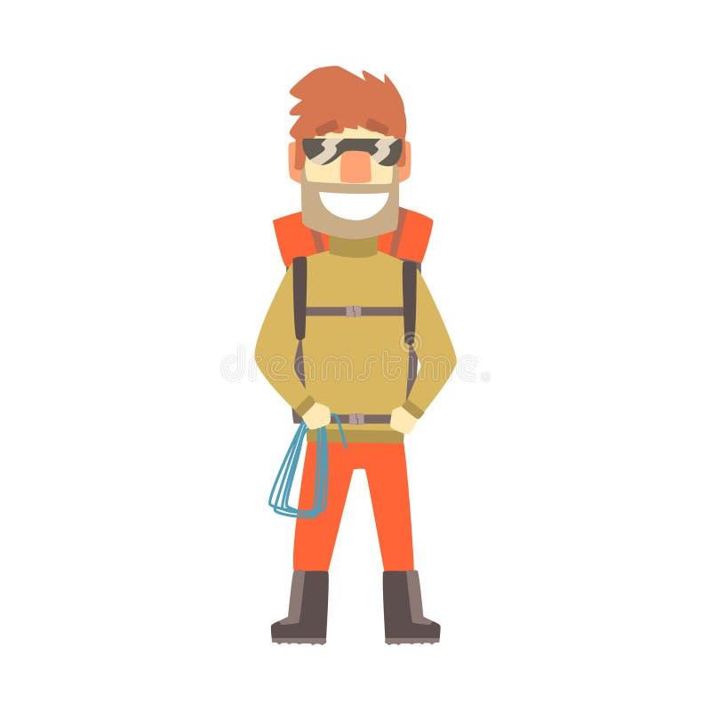 Homem de sorriso do montanhista nos óculos de sol com equipamento para o alpinismo, ilustração colorida do vetor do caráter ilustração stock