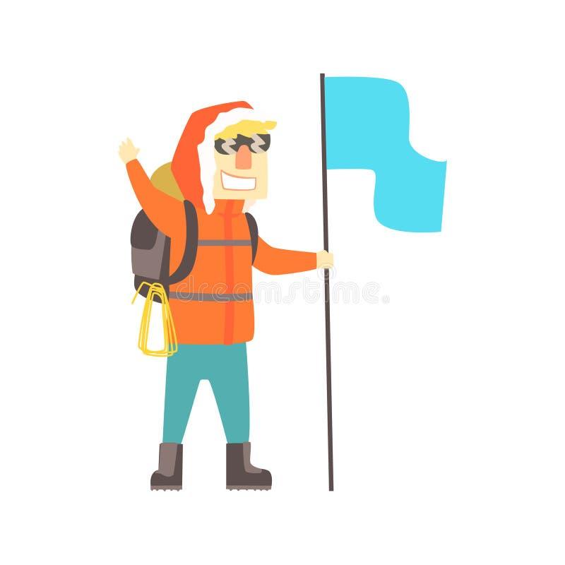 Homem de sorriso do montanhista nos óculos de sol com trouxa e a bandeira azul, ilustração colorida do vetor do caráter ilustração stock