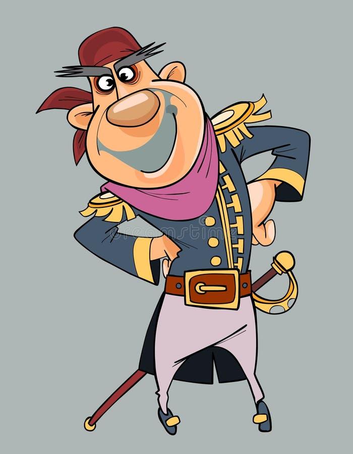 Homem de sorriso dos desenhos animados na roupa do pirata com sabre ilustração stock