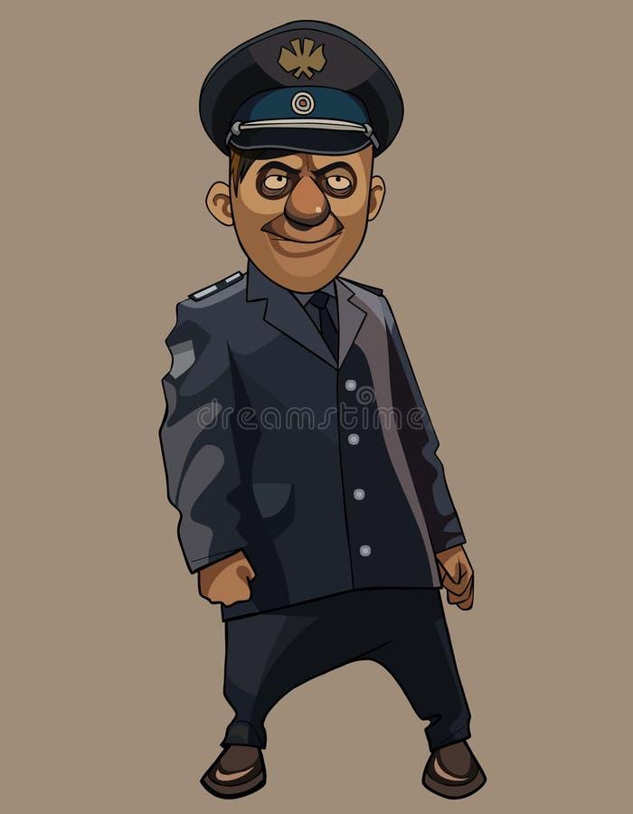 Homem de sorriso engraçado dos desenhos animados em um escuro - uniforme cinzento da polícia ilustração stock