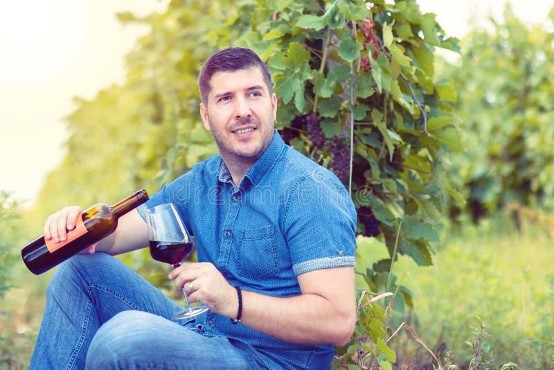 Homem de sorriso que tem o divertimento que guarda um vidro do vinho tinto à disposição no por do sol no vinhedo foto de stock royalty free