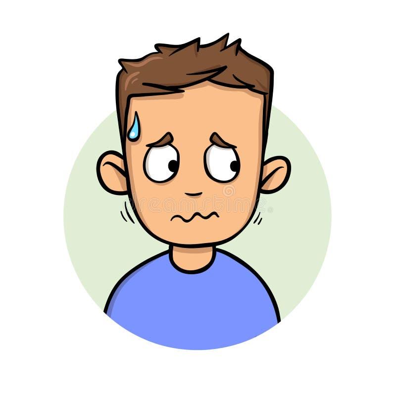 Homem de transpiração novo que olha lateralmente Ícone liso do projeto Ilustração lisa do vetor Isolado no fundo branco ilustração do vetor