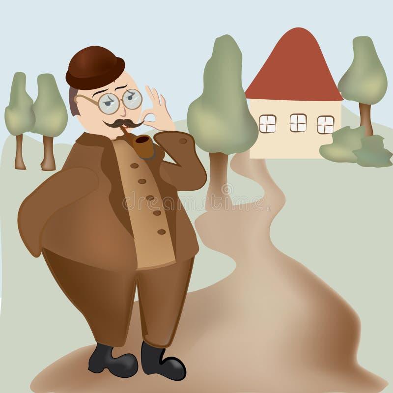 Homem de vista retro com bigodes e uma tubulação ilustração do vetor