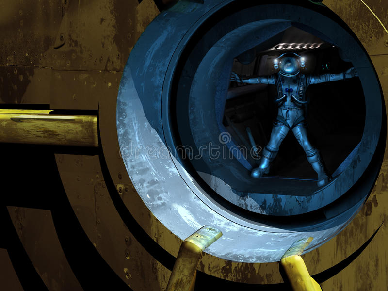 Homem de Vitruvian no espaço ilustração royalty free
