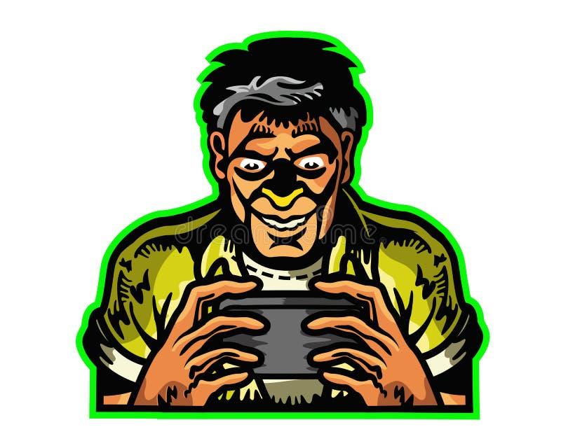 Homem dedicado a jogar a mascote móvel Logo Badge dos desenhos animados do jogo ilustração stock
