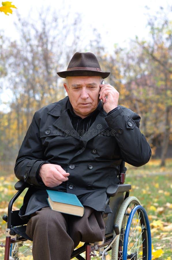 Homem deficiente das pessoas idosas em uma cadeira de rodas em um parque fotografia de stock royalty free
