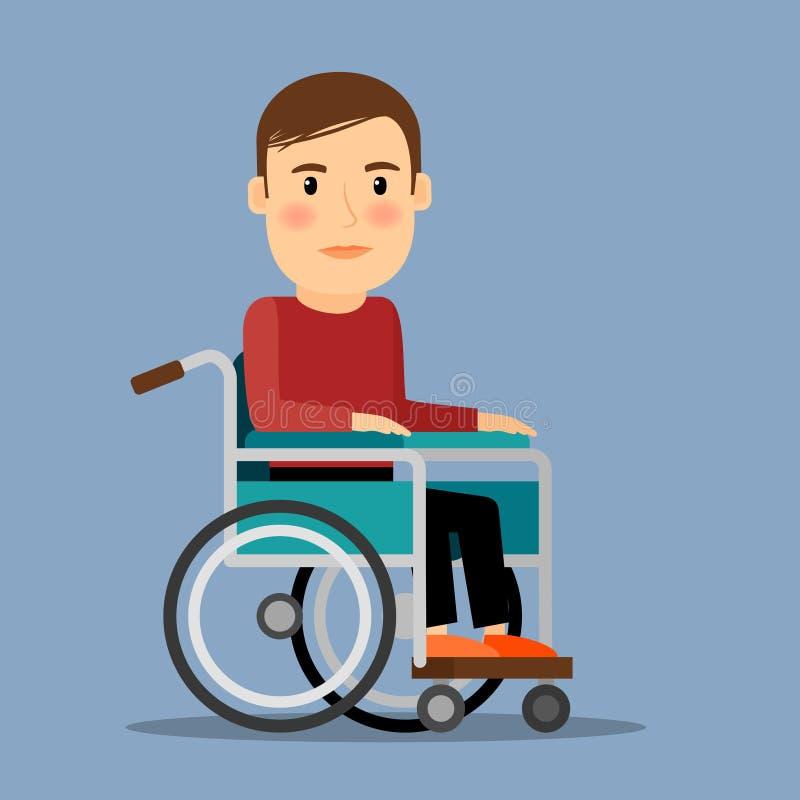 Homem deficiente na cadeira de roda ilustração royalty free