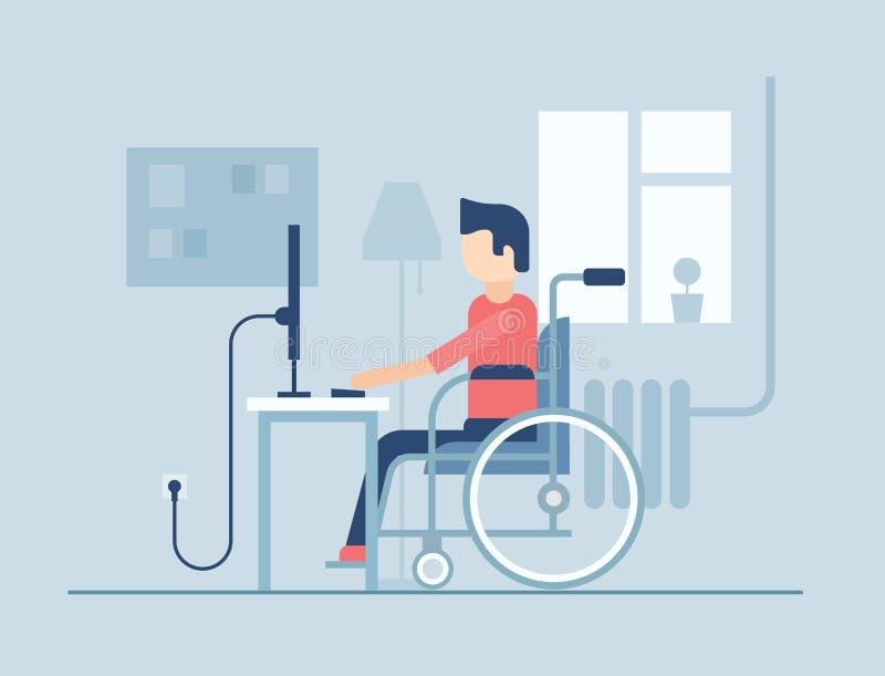 Homem deficiente que trabalha em casa - a ilustração lisa do estilo do projeto ilustração stock