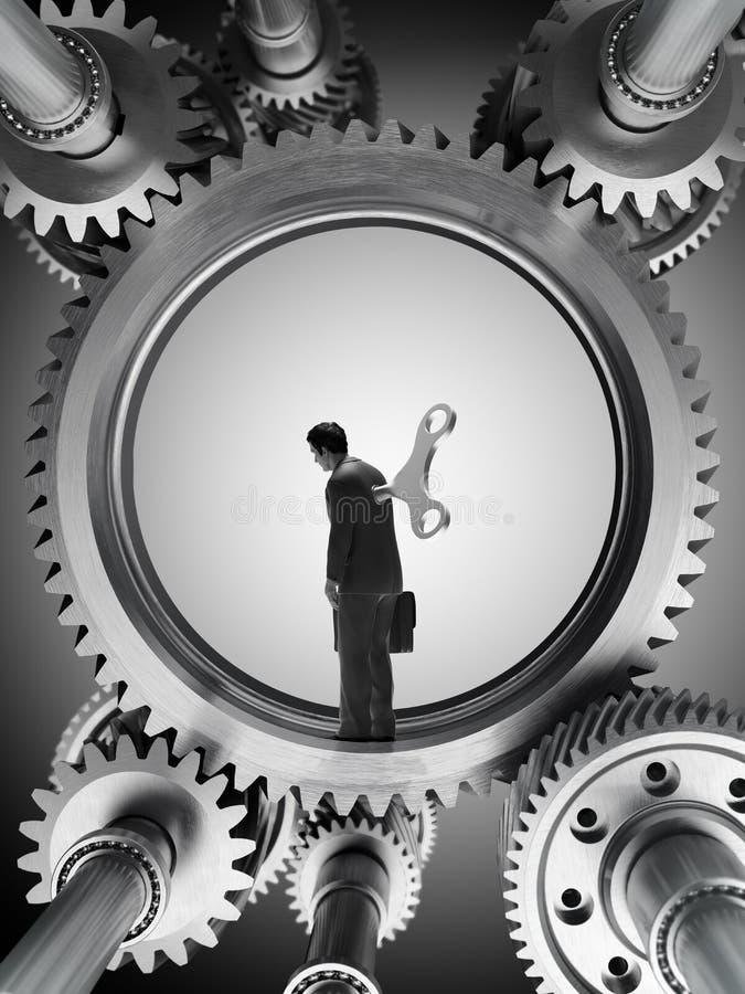 Homem dentro de uma máquina ilustração stock