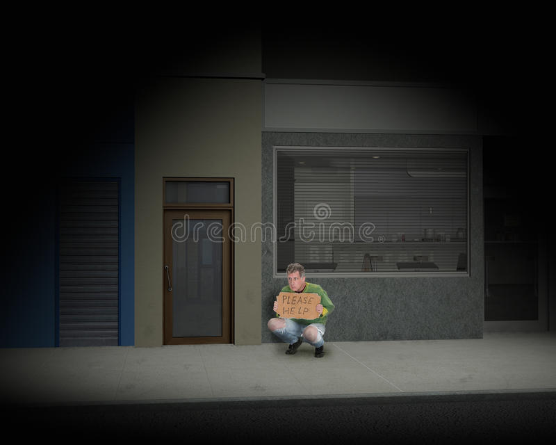 Homem desabrigado na rua escura da cidade fotografia de stock royalty free