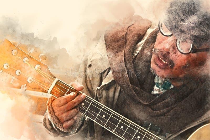 Homem desabrigado que joga a guitarra no primeiro plano na aquarela ilustração stock