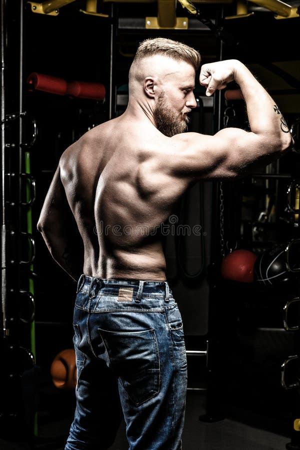 Homem descamisado bombeado nas calças de brim no gym fotos de stock royalty free