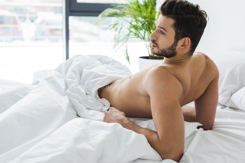 homem descamisado farpado que encontra-se na cama branca fotos de stock