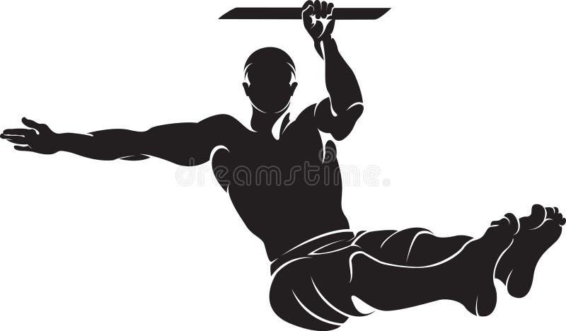 Homem desportivo que faz o exercício do exercício da rua ilustração stock