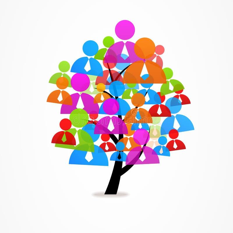 Homem do ícone da árvore do sumário do negócio do logotipo ilustração stock