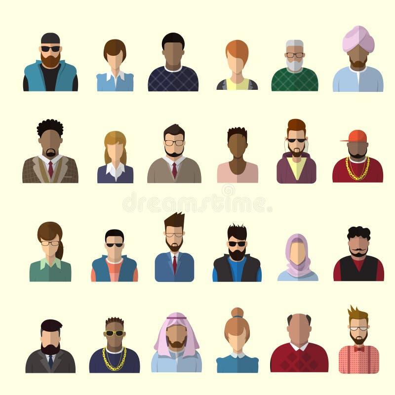 Homem do ícone do perfil e Avatar fêmea, retrato dos desenhos animados do homem da mulher, raça Person Silhouette Face da mistura ilustração royalty free