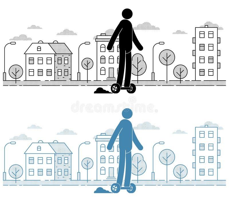 Homem do ícone que monta um hoverboard na paisagem urbana ilustração royalty free