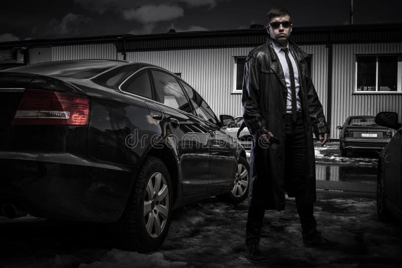 Homem do agente secreto fotografia de stock