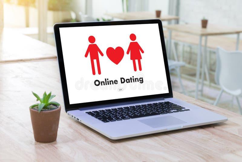 Homem do amor do fósforo e mulher datando em linha e um coração, Internet a Dinamarca foto de stock