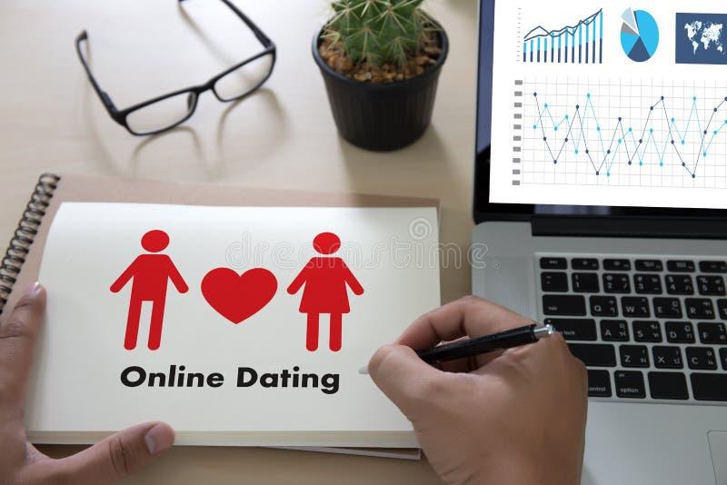 Homem do amor do fósforo e mulher datando em linha e um coração, Internet a Dinamarca fotos de stock