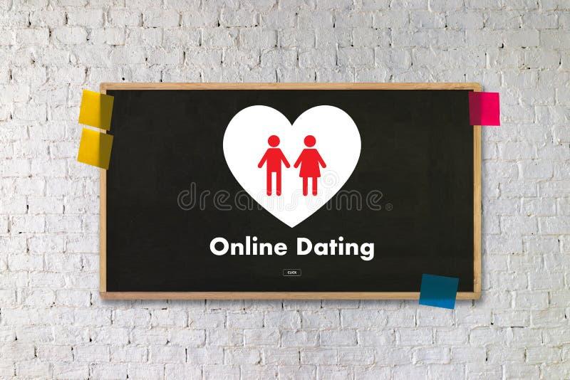 Homem do amor do fósforo e mulher datando em linha e um coração, Internet a Dinamarca fotografia de stock