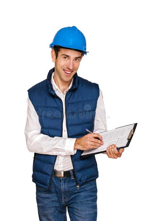 Homem do arquiteto, capacete azul, isolado sobre o fundo branco foto de stock royalty free