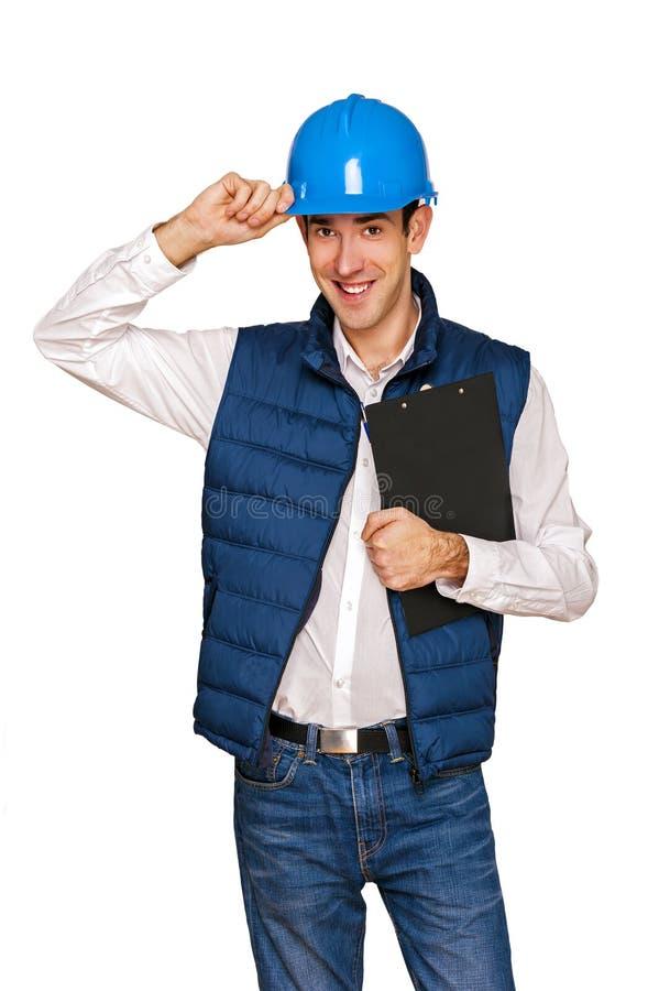Homem do arquiteto, capacete azul, isolado sobre o fundo branco fotografia de stock royalty free