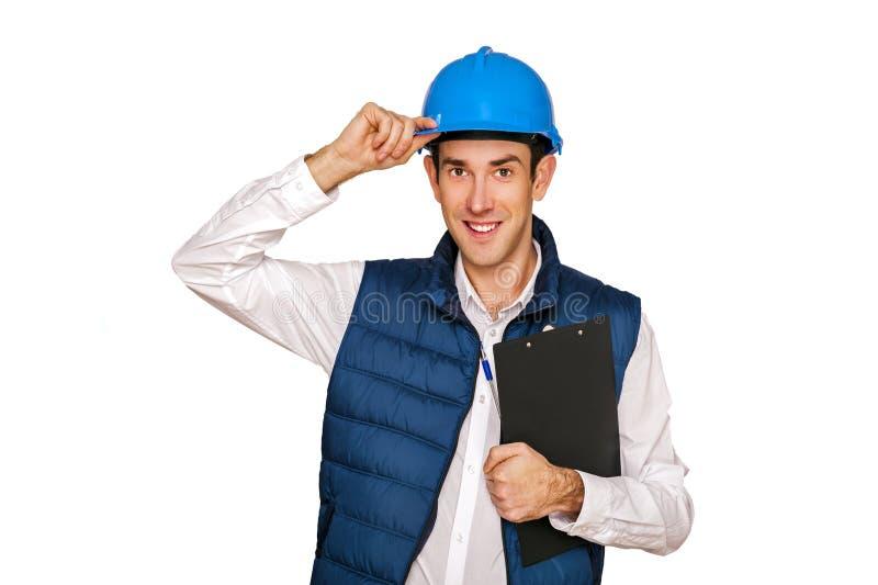 Homem do arquiteto, capacete azul, isolado sobre o fundo branco imagem de stock royalty free