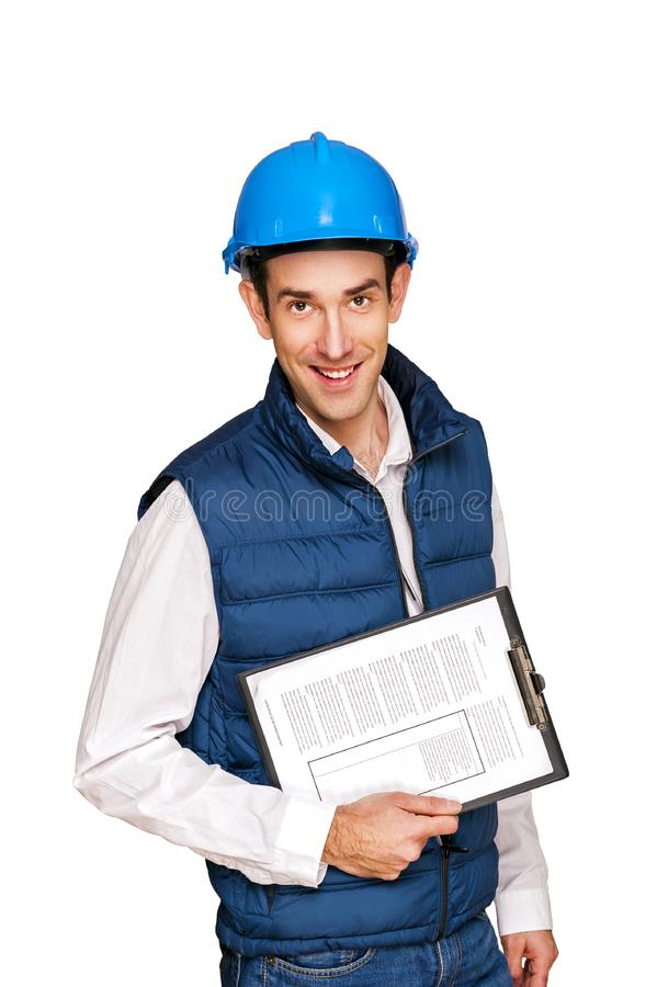 Homem do arquiteto, capacete azul, isolado sobre o fundo branco fotografia de stock