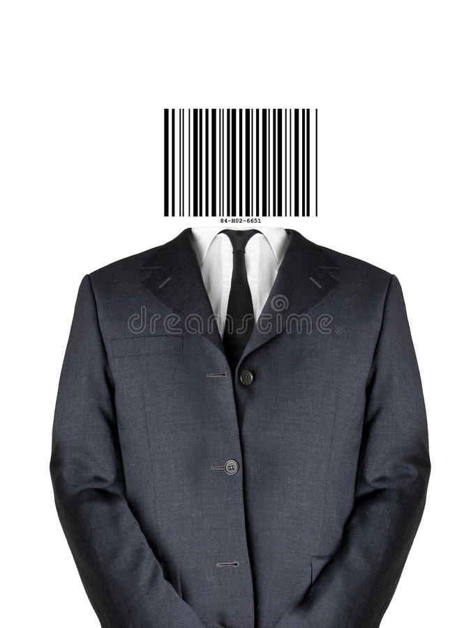 Homem do código de barra imagem de stock