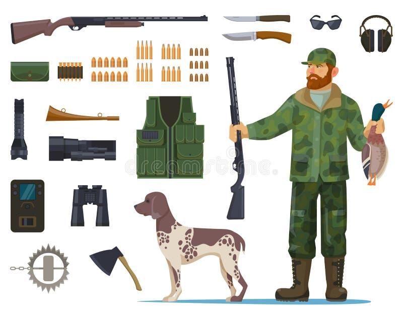Homem do caçador com caça do equipamento ou dos artigos ilustração royalty free