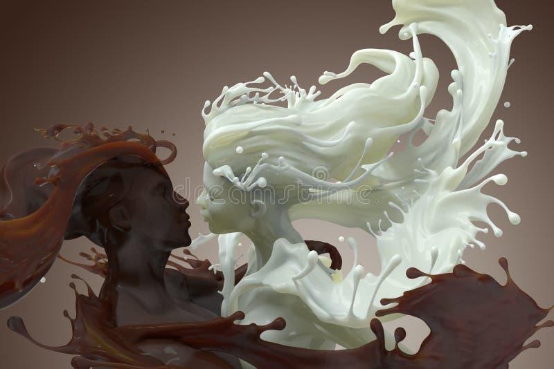 Homem do café do leite e do chocolate e escultura 3d fêmea ilustração stock