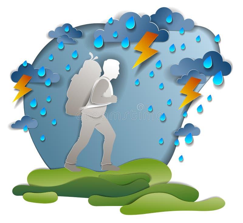 Homem do caminhante que anda através do temporal e da chuva, motivação, ilustração do vetor do teste da sobrevivência do clima de ilustração do vetor