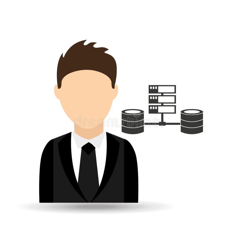 homem do caráter com projeto de dados do servidor de computador ilustração royalty free