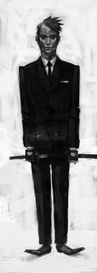 Homem do caráter, ilustração O conceito de um caráter em um revestimento e em um laço Homem de negócios com um katana Tampa, band ilustração do vetor