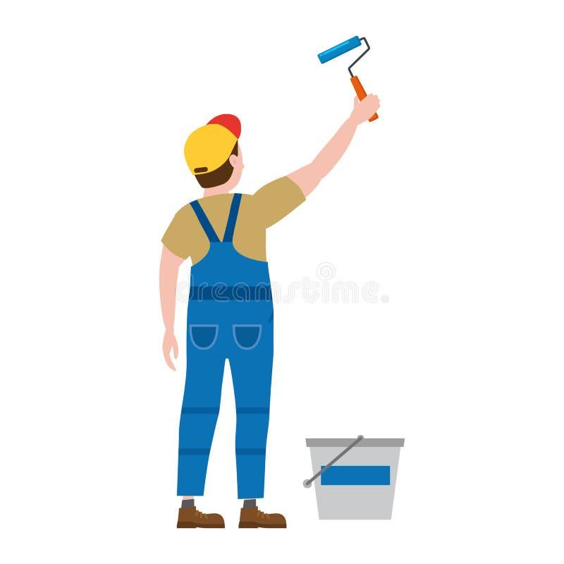 Homem do caráter do proffessional do pintor no trabalho Pintor masculino no uniforme que aplica a pintura para murar com rolo de  ilustração royalty free