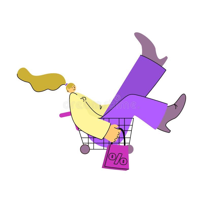 Homem do car?ter da venda e mulher, presentes, sacos ilustração stock