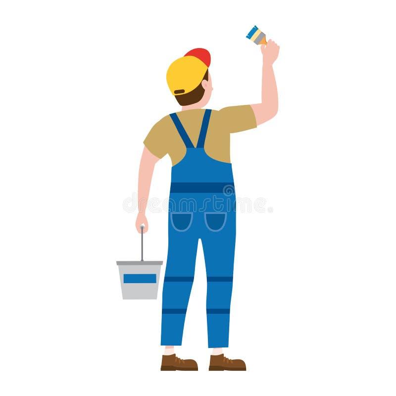 Homem do car?ter do proffessional do pintor no trabalho Pintor masculino no uniforme que aplica a pintura à parede com escova, cu ilustração royalty free