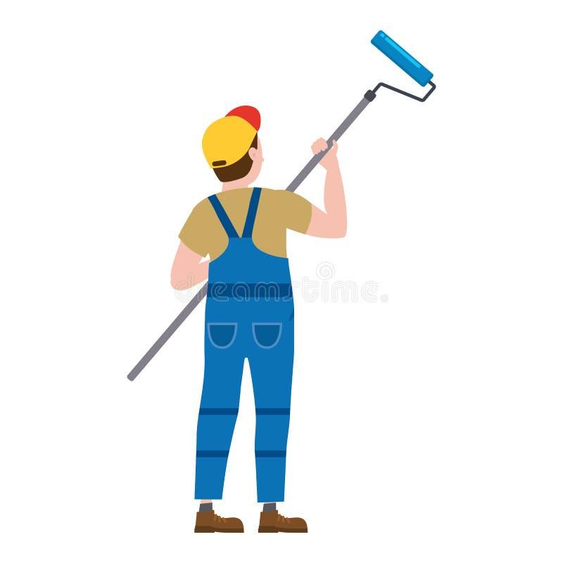 Homem do car?ter do proffessional do pintor no trabalho Pintor masculino no uniforme que aplica a pintura para murar com rolo de  ilustração do vetor