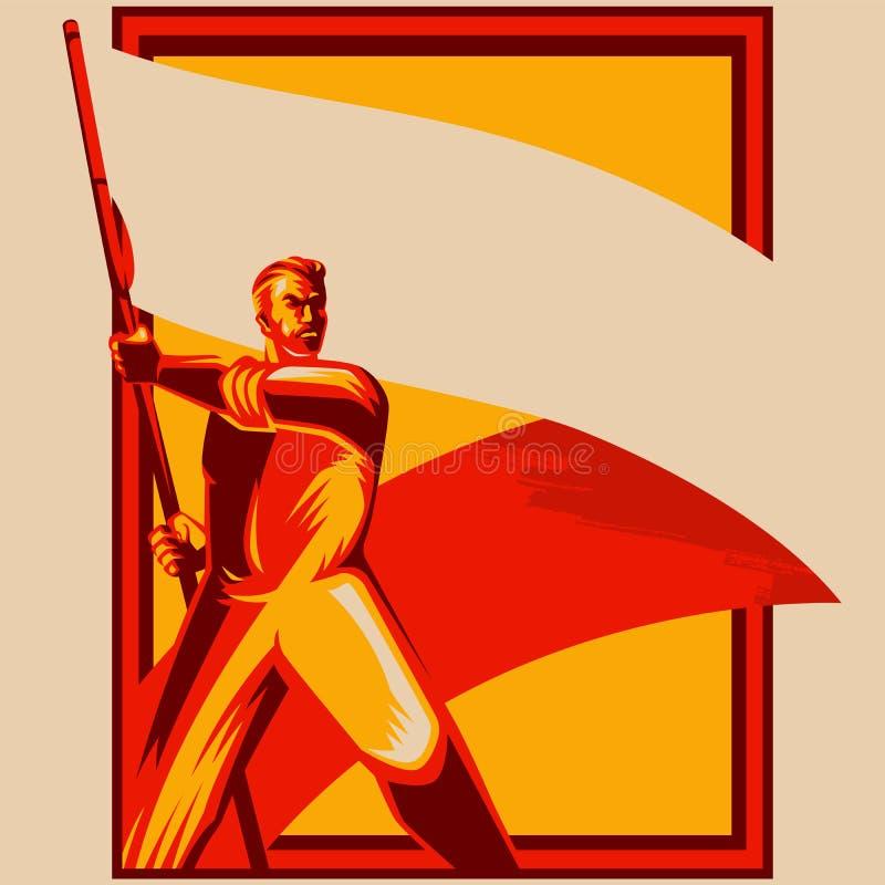 Homem do cartaz da revolução que guarda a ilustração vazia do vetor da bandeira ilustração do vetor